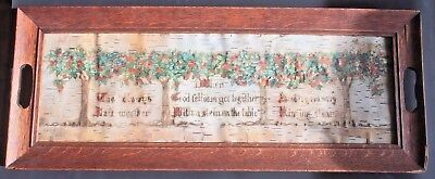 Arts Crafts Hand Painted Motto in Mission Oak Frame on Birch Bark Paper