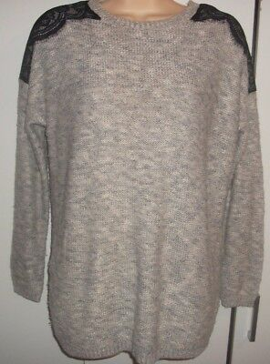 New Look maternity jumper sweater lace shoulders knitted size 12 fawn brown