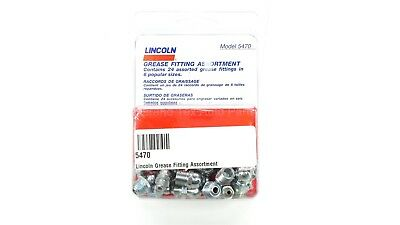 NEW Lincoln Lubrication Grease Fitting Assortment 5470 Pack of 24 in 6 Sizes