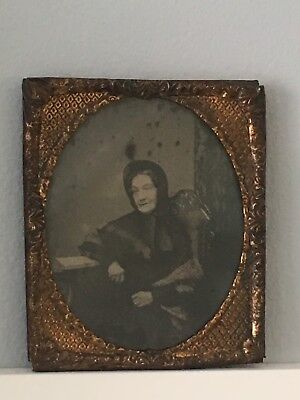 19th Century Ambrotype Portrait Of An Old Woman In Period Costume In Brass Frame