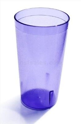 Set of 12 Blue 16 Oz Plastic Restaurant Cup Pebbled Tumblers BPA Free Food Safe