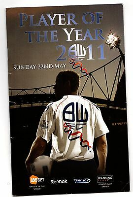 2010-2011 Bolton Wanderers Player of the Year Menu / Brochure