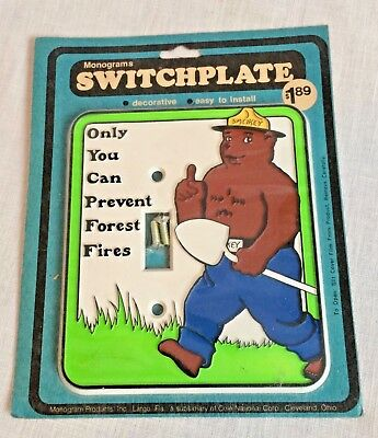 Vintage Smokey the Bear Switch Plate Single Switch New Sealed Orig Package USA