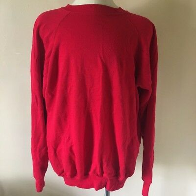 Vintage 80s Hip Red Raglan Sweatshirt XL Soft Thin 50/50 Blend Made in USA