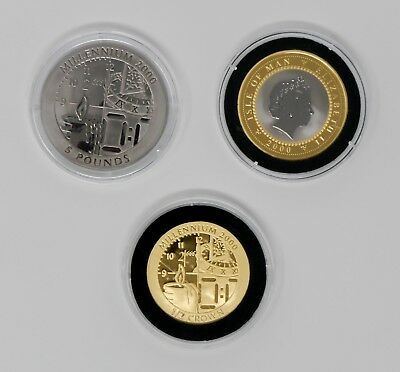 2000 Greenwich Meridian, 3 Piece Proof Coin Set, Gold/Titanium/Bi-Metallic