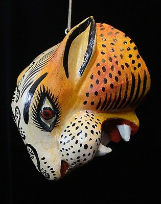 Tiger Mask Hand Carved & Painted Wood Mexican Folk Art Jungle Tribal Big Cats