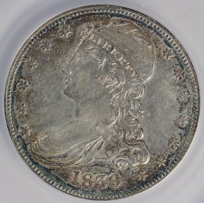 1839 50c Capped Bust Half Dollar ANACS AU 53 DETAILS CLEANED