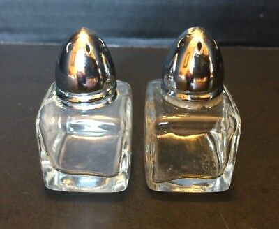 VINTAGE Clear Glass MINIATURE Salt and Pepper SHAKER SET SHAKERS Metal Lids Caps