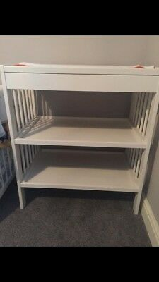 Great condition white baby changing table with matt and cover IKEA
