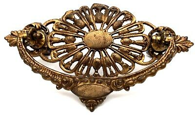 "Circa 1875 Antique Hardware Ornate Brass Victorian Drawer Pull 3"" centers"