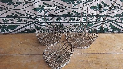 French Vintage Set of 3 Small Pretty Silver Wire Baskets C 1960's