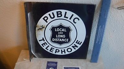 Antique 1900's Porcelain Public Telephone Sign, Local and Long Distance Sign