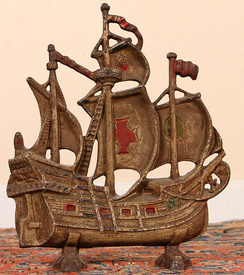 Antique Cast Iron Ship Form Sculpture