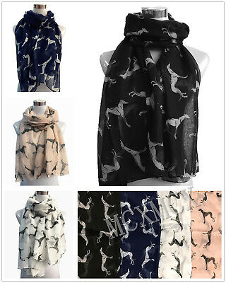 Long Whippet Dog Greyhound Racing Dog Animal Print Pattern Fashion Scarf Shawl