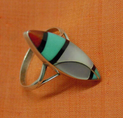 Native American Indian Navajo Zuni Ring Sterling Multi Inlay Stones Signed