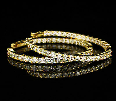ROBERTO COIN NATURAL 3.84ctw DIAMOND 18K YELLOW GOLD INSIDE OUT HOOP EARRINGS