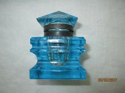 Beautiful Azure Blue Cut and Polished Antique Glass Inkwell, Brass Fittings