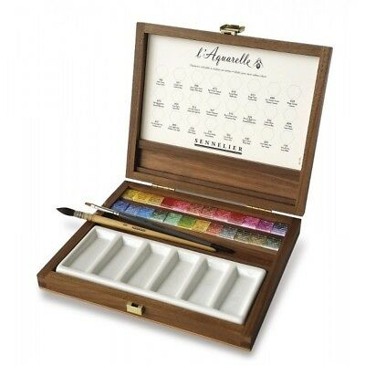 Sennelier Aquarelle Extra Fine Watercolors, Luxury 24-Watercolor-Half-Pan Walnut