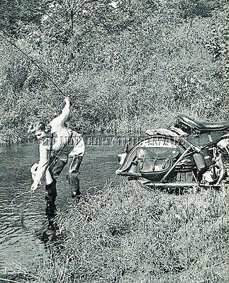 Antique Repro 8X10 Photo Lady Trout  Fishing Harley Davidson Motorcycle