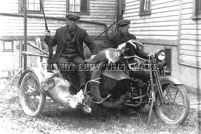 Antique 8X10 Photo Reprint Harley Davidson Motorcycle Hunters 2 Big Deer  # 2