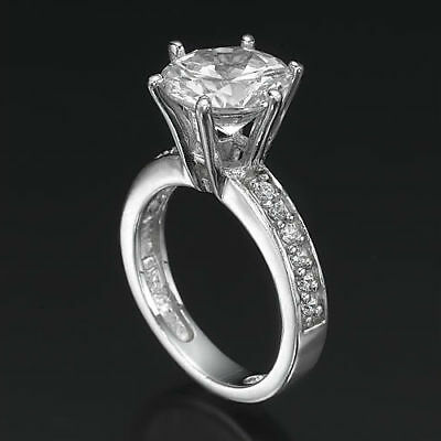Round Diamond Ring Natural Solid 14 Kt White Gold Anniversary 6 Prongs 2 1/4 Ct