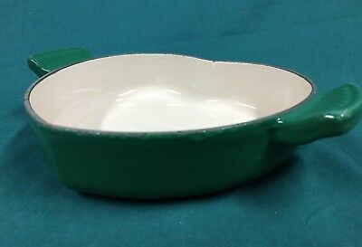 Le Creuset Cast Iron 1 Quart Green Heart Shaped Dutch Oven Casserole ~ No Lid