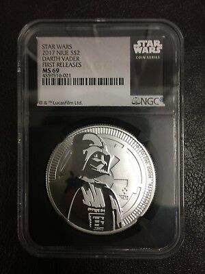 2017 Niue 1 oz. Silver Star Wars Darth Vader $2 NGC MS69 FR Black Excl
