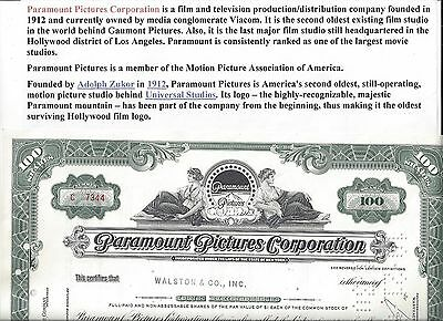 Stk-Paramount Pictrues Corp. 1965 Green 100 sh Common