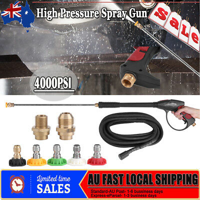 4000PSI+9M+5 Tip High Pressure Water Washer Spray Gun Wand Lance Hose Nozzle Kit