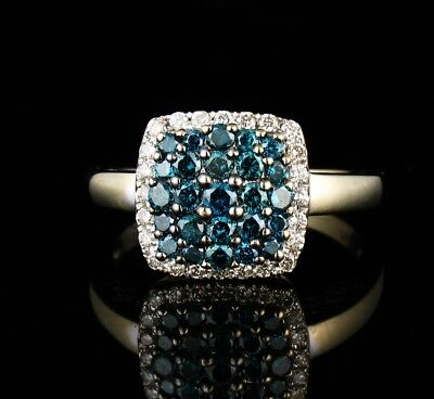 ASHER SIGNED NATURAL 1.21ctw FANCY BLUE DIAMOND PAVE SOLID 14K WHITE GOLD RING