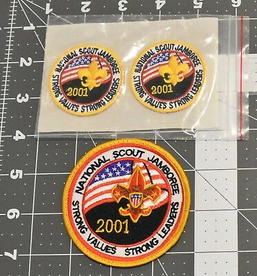 2001 National Scout Jamboree Participant and sm Hat Patches.  3 pieces. Mint!