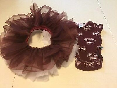 Mississippi State Bulldogs Football Spirit Tutu And One Piece 3/6 Month