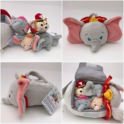 "Disney Store DUMBO Tsum Tsum Elephant Plush Set Small Tote Bag 9½"" Plus 4 Minis"
