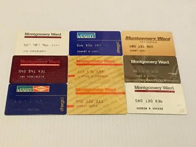Lot of 9 Vintage Montgomery Ward Cards Credit Charge Card Z15