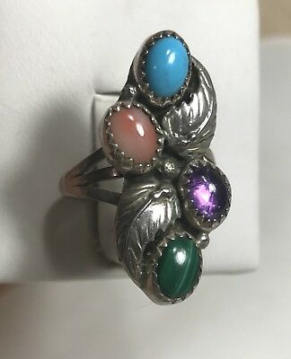 NAVAJO Turquoise,Amethyst,Coral,Malachite Stone Sterling Silver Ring Sz 6.75