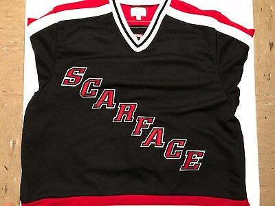 1e9a2bb27179 NWT Supreme SCARFACE Hockey Jersey Black Red White Large FW17 In Hand