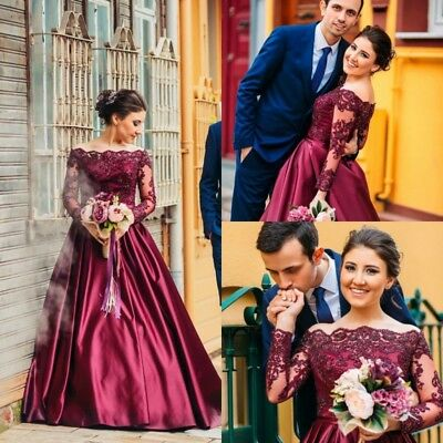 Gorgeous Burgundy Lace Beading Wedding Dresses Long Sleeve A Line Bridal Gown