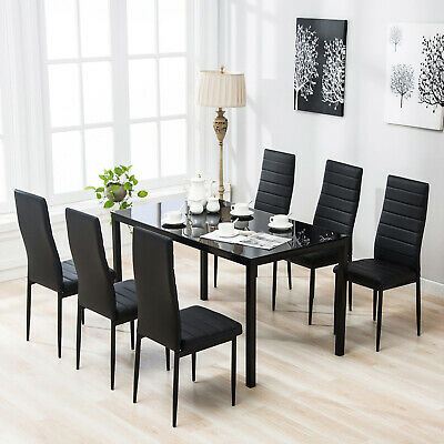 7 Piece Dining Table Set 6 Chairs Black Glass Metal Kitchen Room Furniture