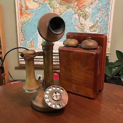 Antique Brass General Electric Co Dial Candlestick Phone & Ring Box - England