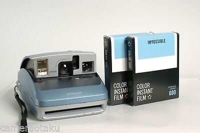 Polaroid ONE 600 blue camera + 2 x Impossible colour 600 films starter kit works