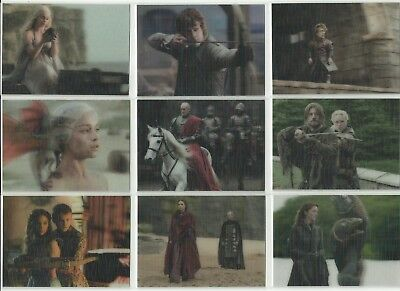Rittenhouse Game Of Thrones Valyrian Steel 3-D Lenticular Complete 18 Card Set