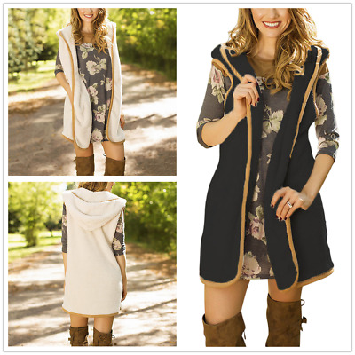 Womens Front Open Sleeveless Long Duster Coat Waistcoat Fluffy Cardigan Fur Vest