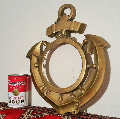 NAVY ANCHOR wall front door frame brass picture clock vtg mirror portal nautical