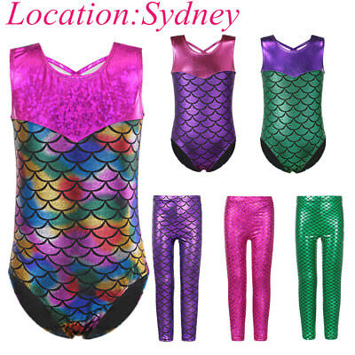 3-12Y Kids Girls Mermaid Ballet Leotards Gymnastics Bodysuit Athletic Dancewear