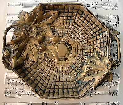 Large Antique French Art Nouveau Bronze Tray with Maple Leaves in Basket c1900