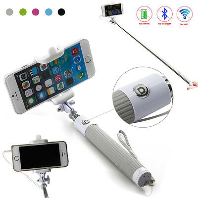 New Handheld Monopod Selfie Stick Telescopic Wired Remote Mobile Phone Holder US