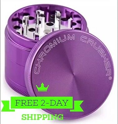 Magnetic Tobacco Grinder 2.5 inch  Aluminum Herb/Spice Crusher 4 Piece - Purple
