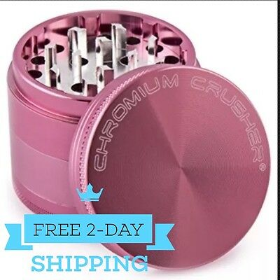 Magnetic Tobacco Grinder 2.5 inch Aluminum Herb/Spice Crusher 4 Piece - Pink