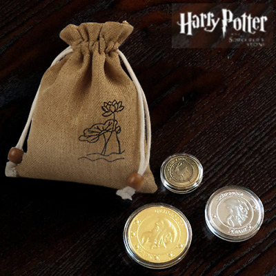 3pc Harry Potter Hogwarts Gringotts Bank Wizarding Galleons Commemorative Coins