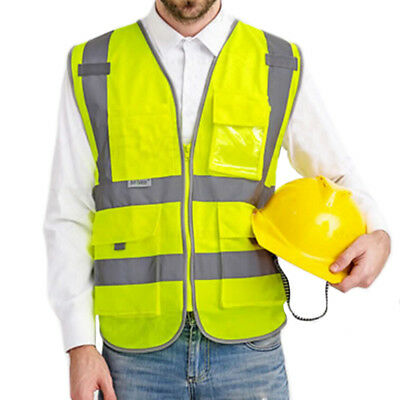 GOGO 8 Pockets High Visibility Zipper Front Safety Vest With Reflective Strips